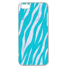 Skin3 White Marble & Turquoise Colored Pencil Apple Seamless Iphone 5 Case (clear)