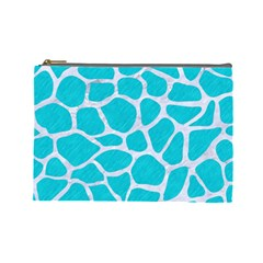 Skin1 White Marble & Turquoise Colored Pencil (r) Cosmetic Bag (large)
