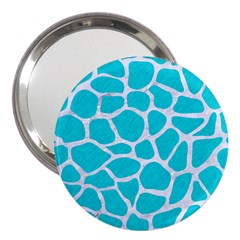 Skin1 White Marble & Turquoise Colored Pencil (r) 3  Handbag Mirrors