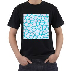 Skin1 White Marble & Turquoise Colored Pencil Men s T Shirt (black)