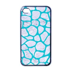 Skin1 White Marble & Turquoise Colored Pencil Apple Iphone 4 Case (black)