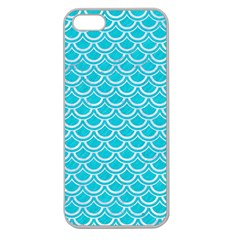 Scales2 White Marble & Turquoise Colored Pencil Apple Seamless Iphone 5 Case (clear)