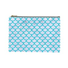 Scales1 White Marble & Turquoise Colored Pencil (r) Cosmetic Bag (large)