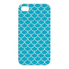 Scales1 White Marble & Turquoise Colored Pencil Apple Iphone 4/4s Premium Hardshell Case