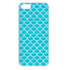 Scales1 White Marble & Turquoise Colored Pencil Apple Iphone 5 Seamless Case (white)