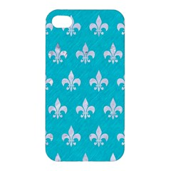 Royal1 White Marble & Turquoise Colored Pencil (r) Apple Iphone 4/4s Premium Hardshell Case