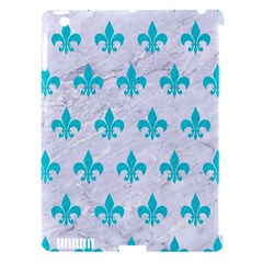 Royal1 White Marble & Turquoise Colored Pencil Apple Ipad 3/4 Hardshell Case (compatible With Smart Cover)