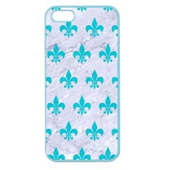Royal1 White Marble & Turquoise Colored Pencil Apple Seamless Iphone 5 Case (color)
