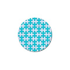 Puzzle1 White Marble & Turquoise Colored Pencil Golf Ball Marker