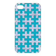 Puzzle1 White Marble & Turquoise Colored Pencil Apple Iphone 4/4s Premium Hardshell Case