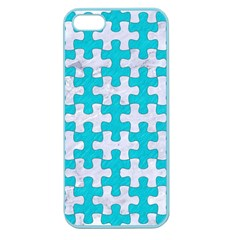 Puzzle1 White Marble & Turquoise Colored Pencil Apple Seamless Iphone 5 Case (color)