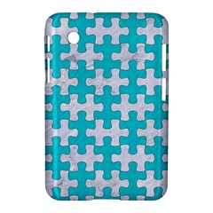 Puzzle1 White Marble & Turquoise Colored Pencil Samsung Galaxy Tab 2 (7 ) P3100 Hardshell Case