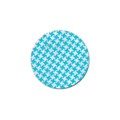 Houndstooth2 White Marble & Turquoise Colored Pencil Golf Ball Marker