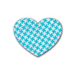 Houndstooth2 White Marble & Turquoise Colored Pencil Rubber Coaster (heart)