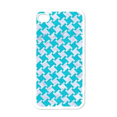 Houndstooth2 White Marble & Turquoise Colored Pencil Apple Iphone 4 Case (white)