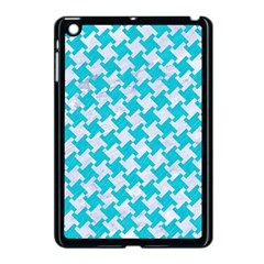Houndstooth2 White Marble & Turquoise Colored Pencil Apple Ipad Mini Case (black)