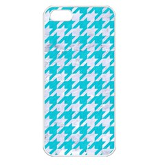 Houndstooth1 White Marble & Turquoise Colored Pencil Apple Iphone 5 Seamless Case (white)
