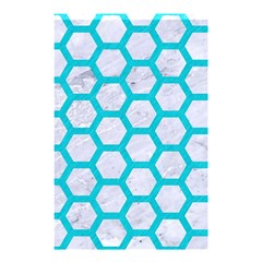 Hexagon2 White Marble & Turquoise Colored Pencil (r) Shower Curtain 48  X 72  (small)