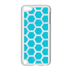 Hexagon2 White Marble & Turquoise Colored Pencil Apple Ipod Touch 5 Case (white)