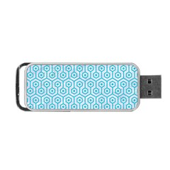 Hexagon1 White Marble & Turquoise Colored Pencil (r) Portable Usb Flash (two Sides)