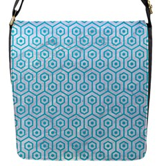 Hexagon1 White Marble & Turquoise Colored Pencil (r) Flap Messenger Bag (s)