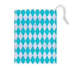 Diamond1 White Marble & Turquoise Colored Pencil Drawstring Pouches (extra Large)