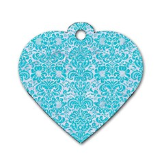 Damask2 White Marble & Turquoise Colored Pencil (r) Dog Tag Heart (one Side)