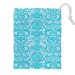 Damask2 White Marble & Turquoise Colored Pencil (r) Drawstring Pouches (xxl)