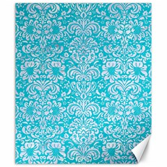 Damask2 White Marble & Turquoise Colored Pencil Canvas 20  X 24