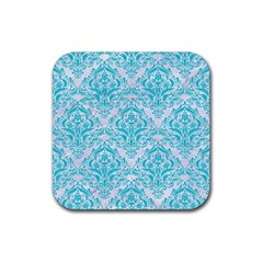 Damask1 White Marble & Turquoise Colored Pencil (r) Rubber Square Coaster (4 Pack)