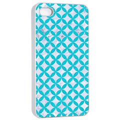 Circles3 White Marble & Turquoise Colored Pencil (r) Apple Iphone 4/4s Seamless Case (white)