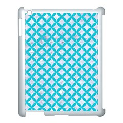 Circles3 White Marble & Turquoise Colored Pencil (r) Apple Ipad 3/4 Case (white)