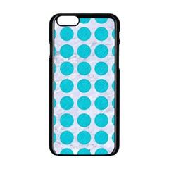 Circles1 White Marble & Turquoise Colored Pencil (r) Apple Iphone 6/6s Black Enamel Case