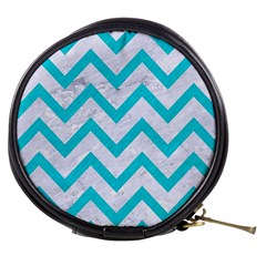Chevron9 White Marble & Turquoise Colored Pencil (r) Mini Makeup Bags