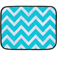 Chevron9 White Marble & Turquoise Colored Pencil Double Sided Fleece Blanket (mini)