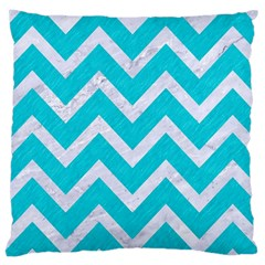Chevron9 White Marble & Turquoise Colored Pencil Large Cushion Case (one Side)