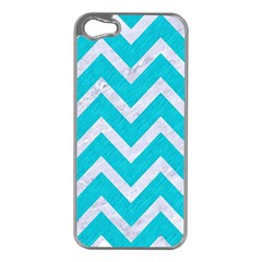 Chevron9 White Marble & Turquoise Colored Pencil Apple Iphone 5 Case (silver)