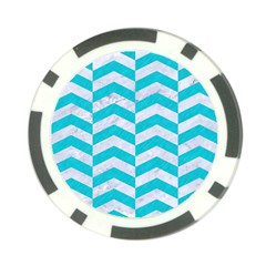 Chevron2 White Marble & Turquoise Colored Pencil Poker Chip Card Guard (10 Pack)