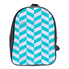 Chevron1 White Marble & Turquoise Colored Pencil School Bag (large)