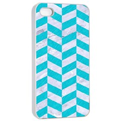 Chevron1 White Marble & Turquoise Colored Pencil Apple Iphone 4/4s Seamless Case (white)