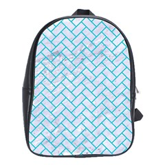 Brick2 White Marble & Turquoise Colored Pencil (r) School Bag (large)