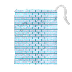 Brick1 White Marble & Turquoise Colored Pencil (r) Drawstring Pouches (extra Large)