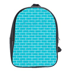 Brick1 White Marble & Turquoise Colored Pencil School Bag (large)