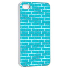 Brick1 White Marble & Turquoise Colored Pencil Apple Iphone 4/4s Seamless Case (white)