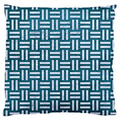 Woven1 White Marble & Teal Leather Large Cushion Case (one Side)
