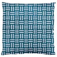 Woven1 White Marble & Teal Leather Standard Flano Cushion Case (one Side)