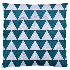 Triangle2 White Marble & Teal Leather Large Cushion Case (one Side)
