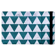 Triangle2 White Marble & Teal Leather Apple Ipad Pro 12 9   Flip Case
