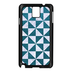 Triangle1 White Marble & Teal Leather Samsung Galaxy Note 3 N9005 Case (black)