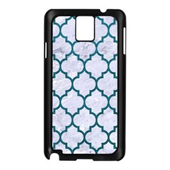 Tile1 White Marble & Teal Leather (r) Samsung Galaxy Note 3 N9005 Case (black)